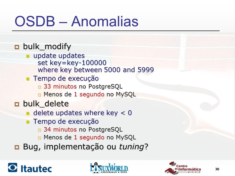OSDB – Anomalias bulk_modify bulk_delete Bug, implementação ou tuning