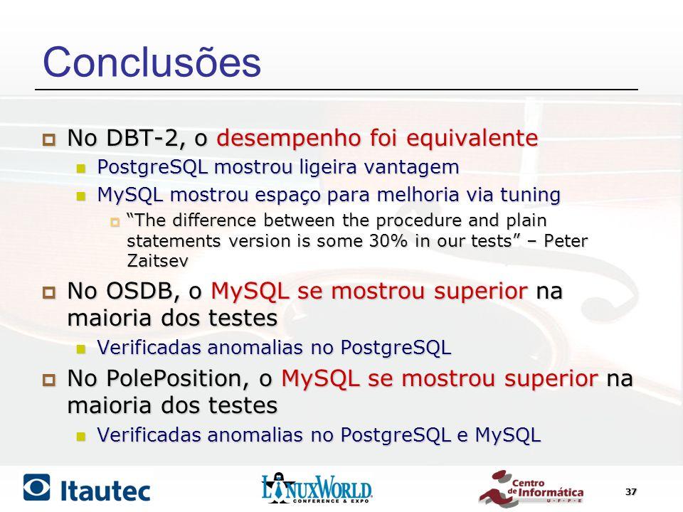Conclusões No DBT-2, o desempenho foi equivalente