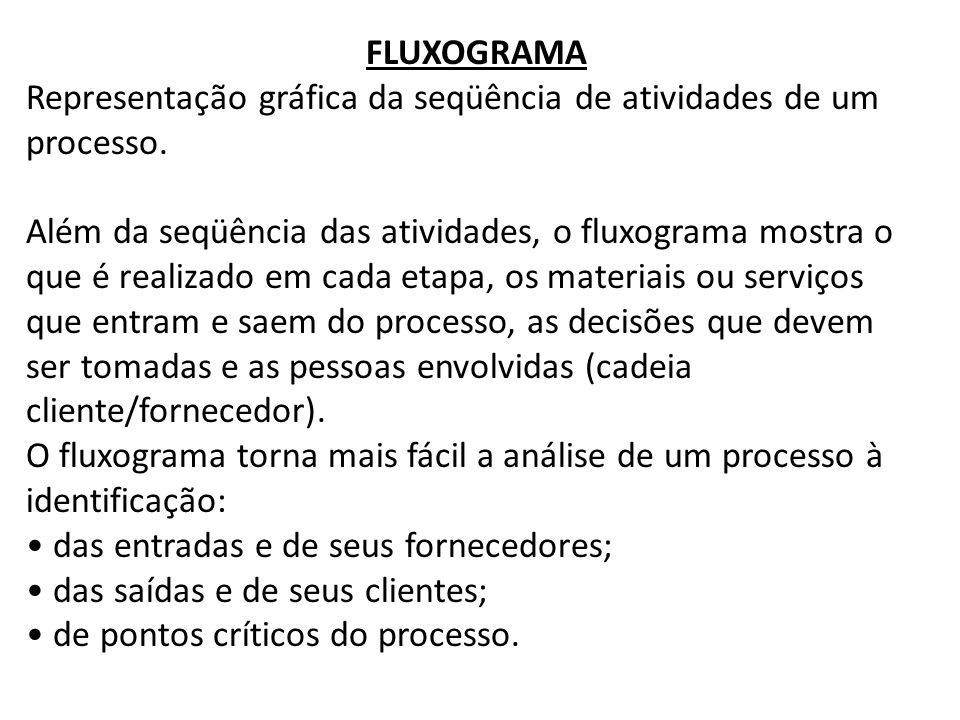 FLUXOGRAMA Representação gráfica da seqüência de atividades de um processo.