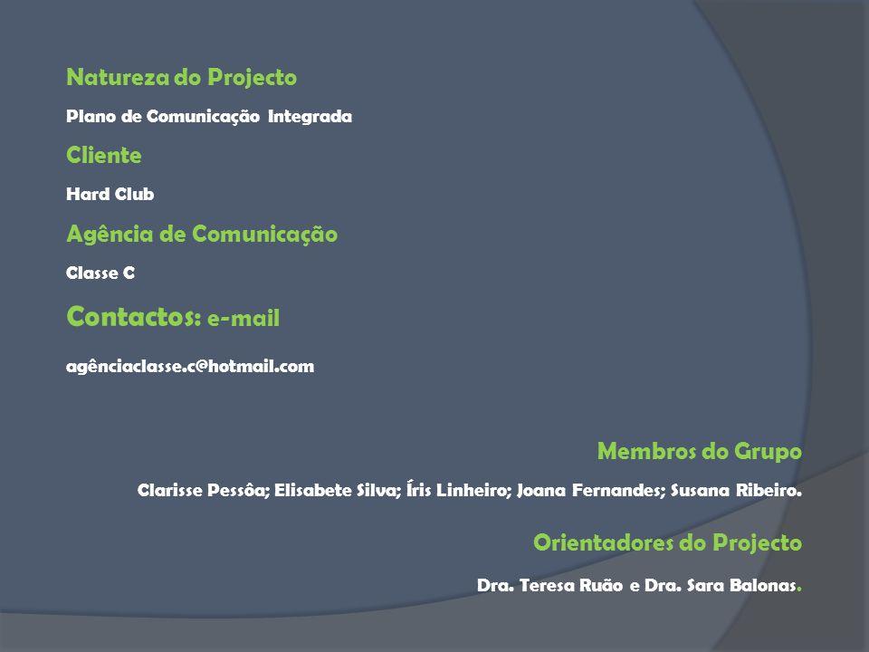 Contactos: e-mail Natureza do Projecto Cliente Agência de Comunicação