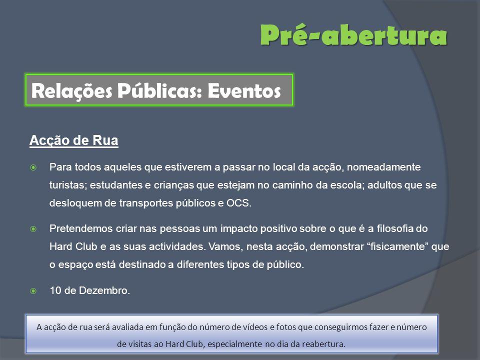 Pré-abertura Relações Públicas: Eventos Acção de Rua