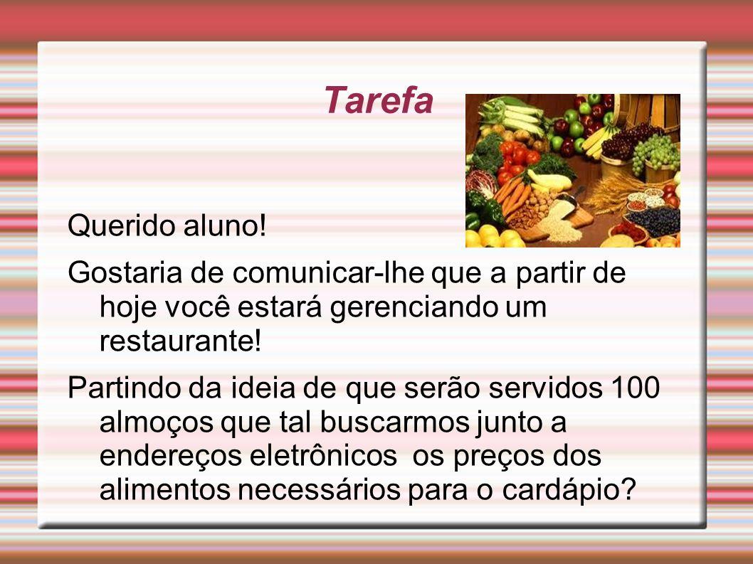 Tarefa Querido aluno! Gostaria de comunicar-lhe que a partir de hoje você estará gerenciando um restaurante!