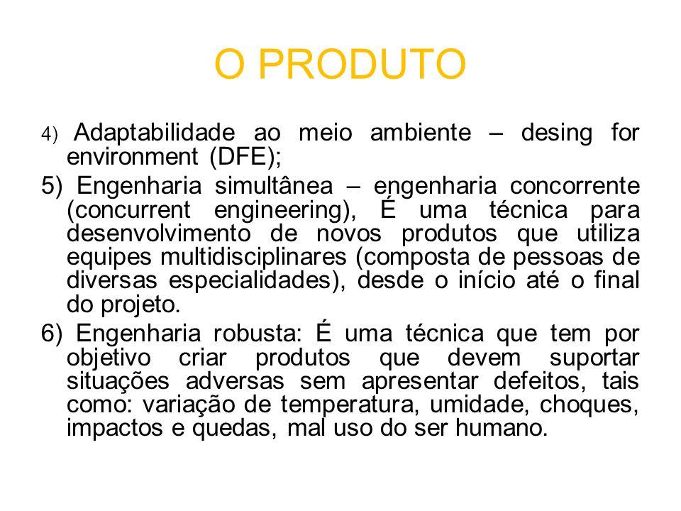 O PRODUTO 4) Adaptabilidade ao meio ambiente – desing for environment (DFE);
