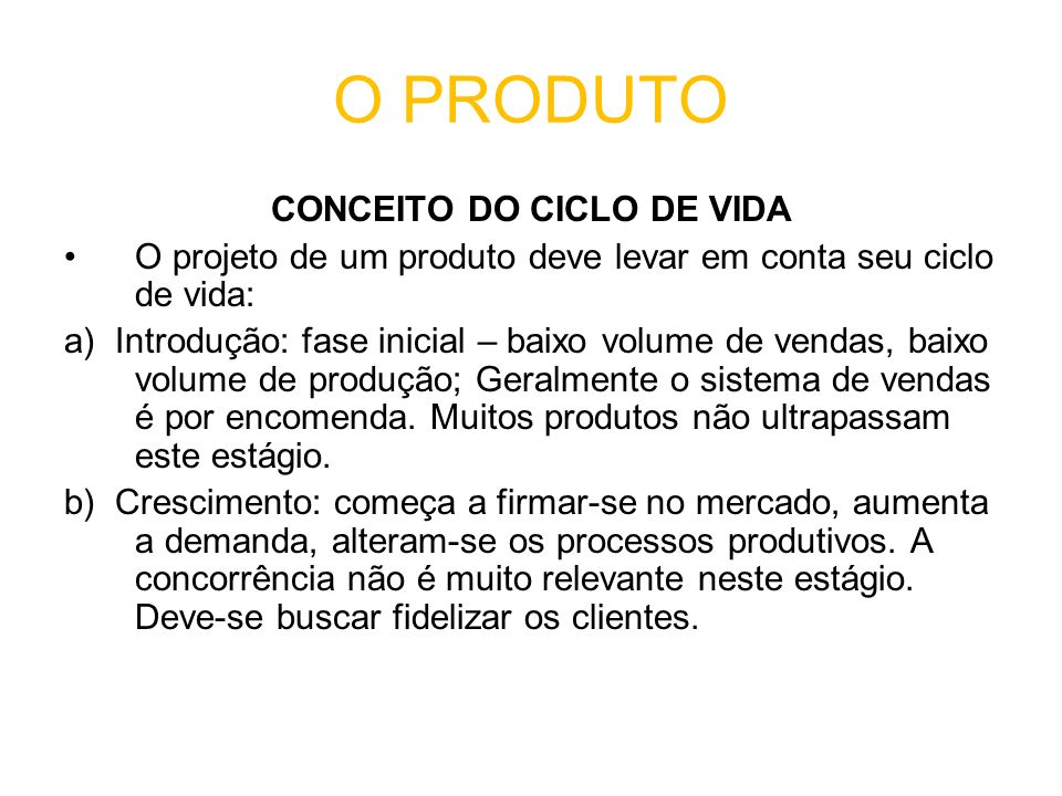 CONCEITO DO CICLO DE VIDA