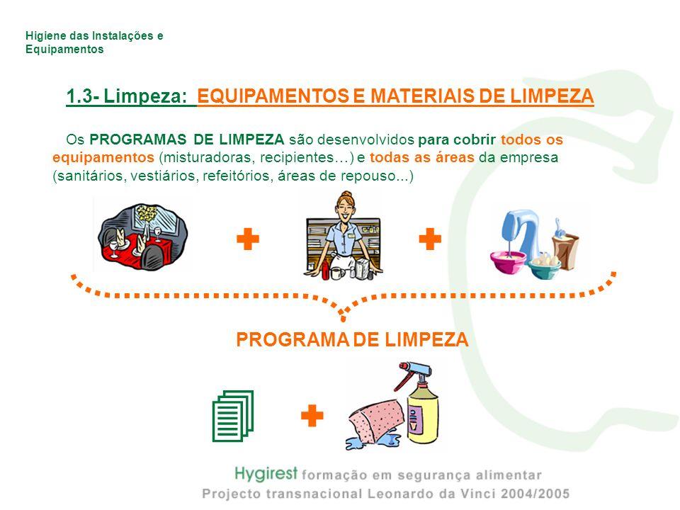     1.3- Limpeza: EQUIPAMENTOS E MATERIAIS DE LIMPEZA