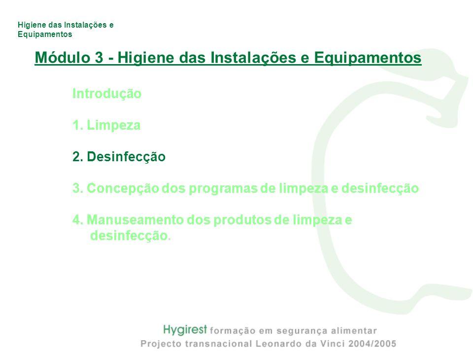 Módulo 3 - Higiene das Instalações e Equipamentos