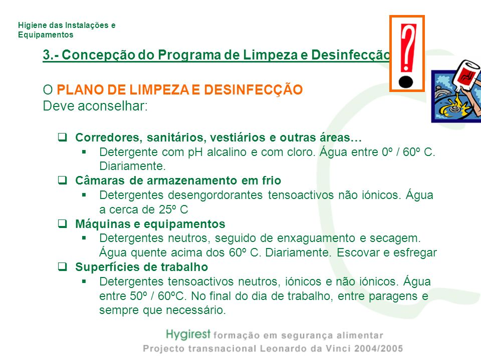 3.- Concepção do Programa de Limpeza e Desinfecção