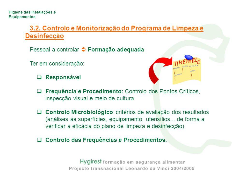 3.2. Controlo e Monitorização do Programa de Limpeza e Desinfecção