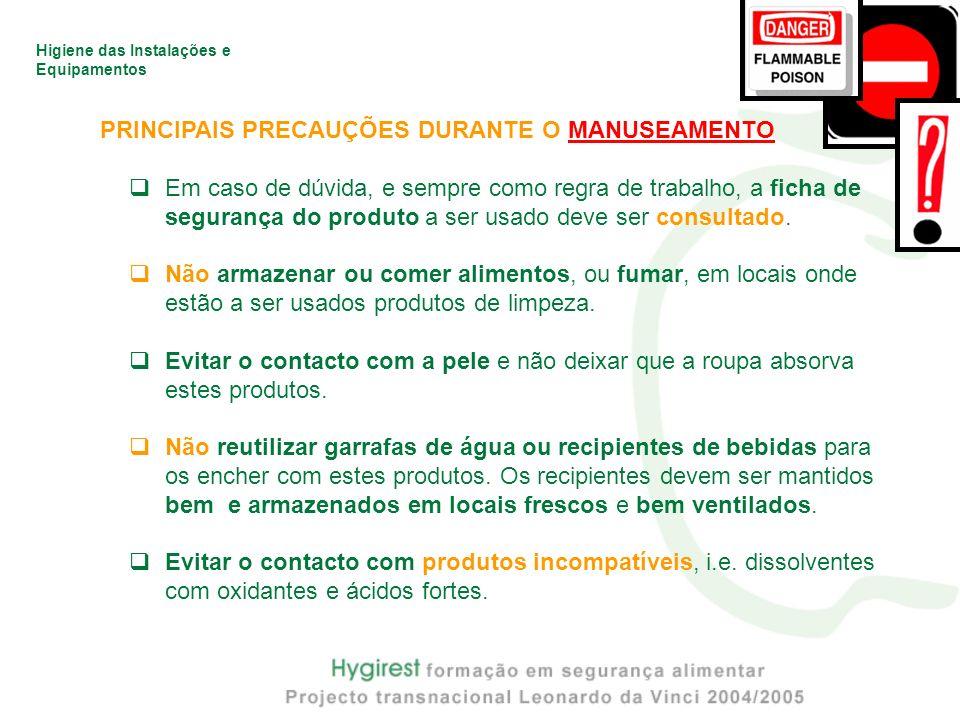 PRINCIPAIS PRECAUÇÕES DURANTE O MANUSEAMENTO