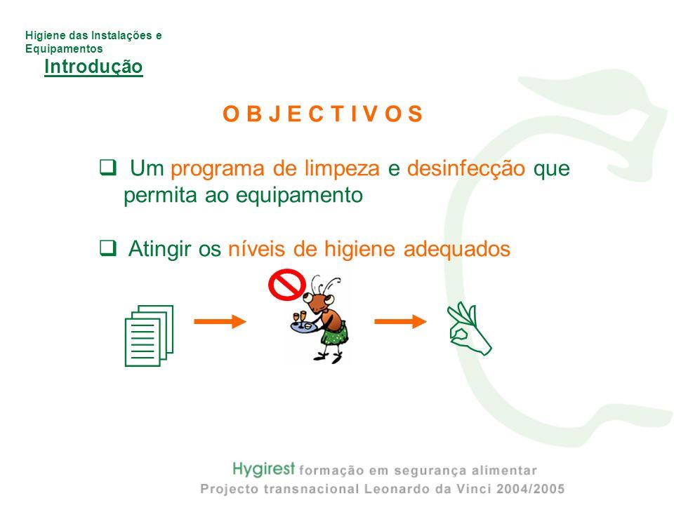 Introdução O B J E C T I V O S. Um programa de limpeza e desinfecção que permita ao equipamento. Atingir os níveis de higiene adequados.