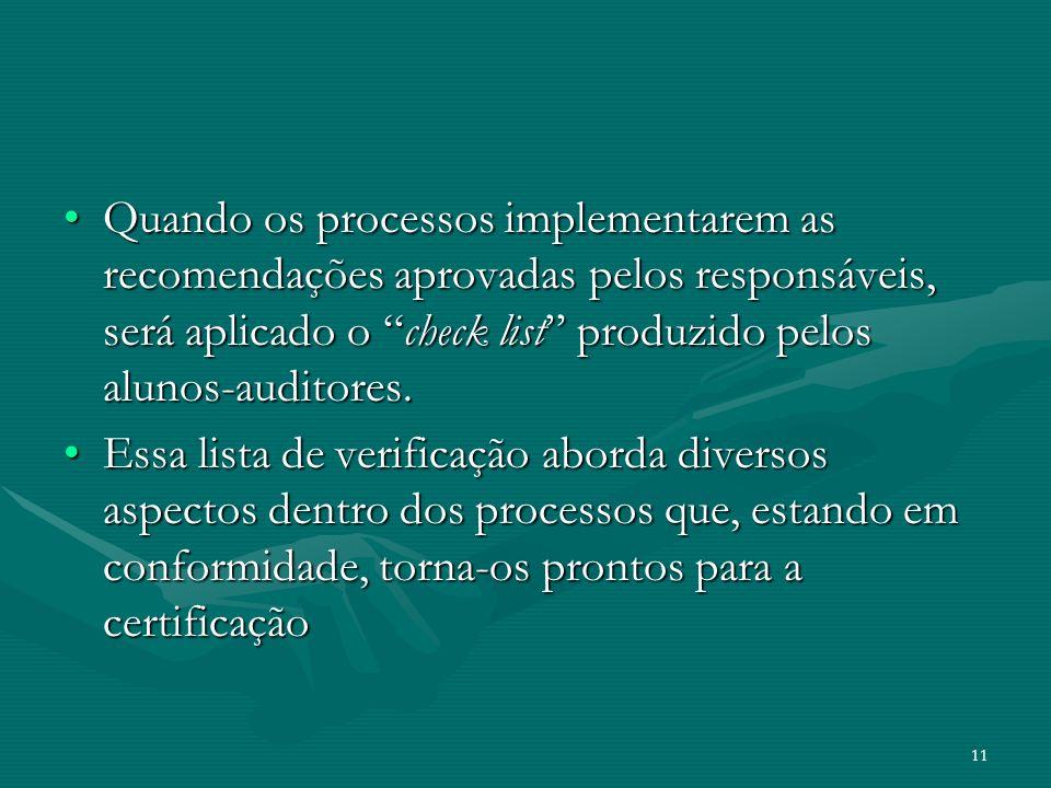 Quando os processos implementarem as recomendações aprovadas pelos responsáveis, será aplicado o check list produzido pelos alunos-auditores.