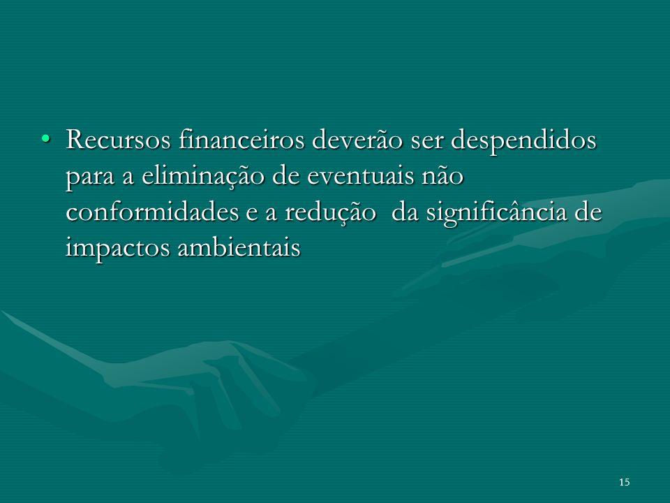 Recursos financeiros deverão ser despendidos para a eliminação de eventuais não conformidades e a redução da significância de impactos ambientais