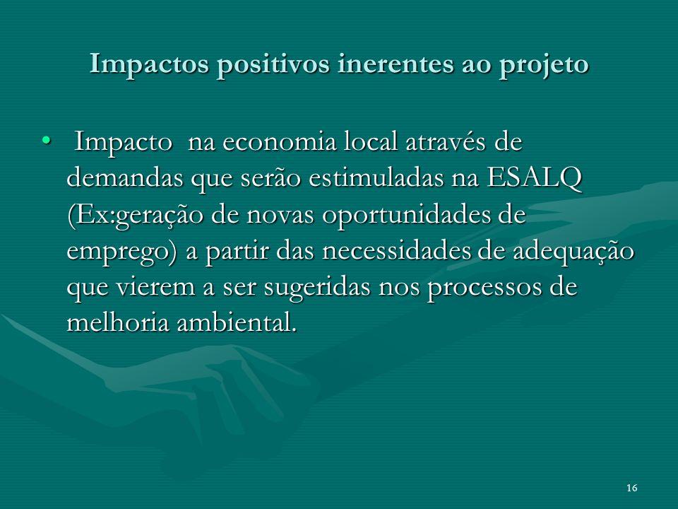 Impactos positivos inerentes ao projeto