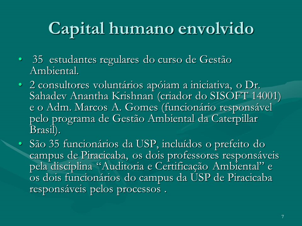 Capital humano envolvido