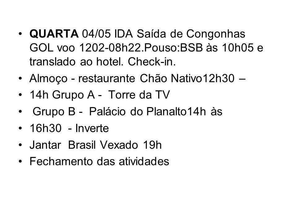 QUARTA 04/05 IDA Saída de Congonhas GOL voo 1202-08h22