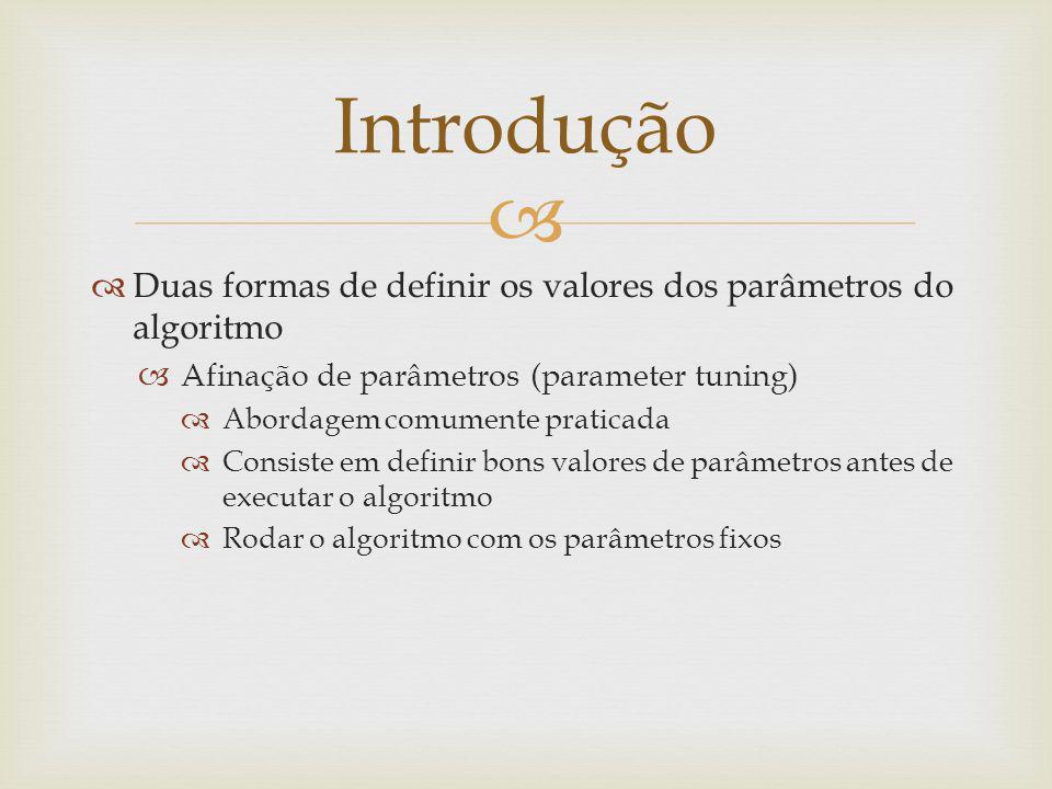 Introdução Duas formas de definir os valores dos parâmetros do algoritmo. Afinação de parâmetros (parameter tuning)