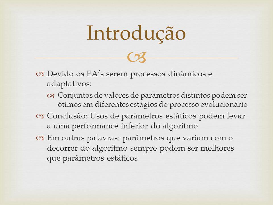 Introdução Devido os EA's serem processos dinâmicos e adaptativos:
