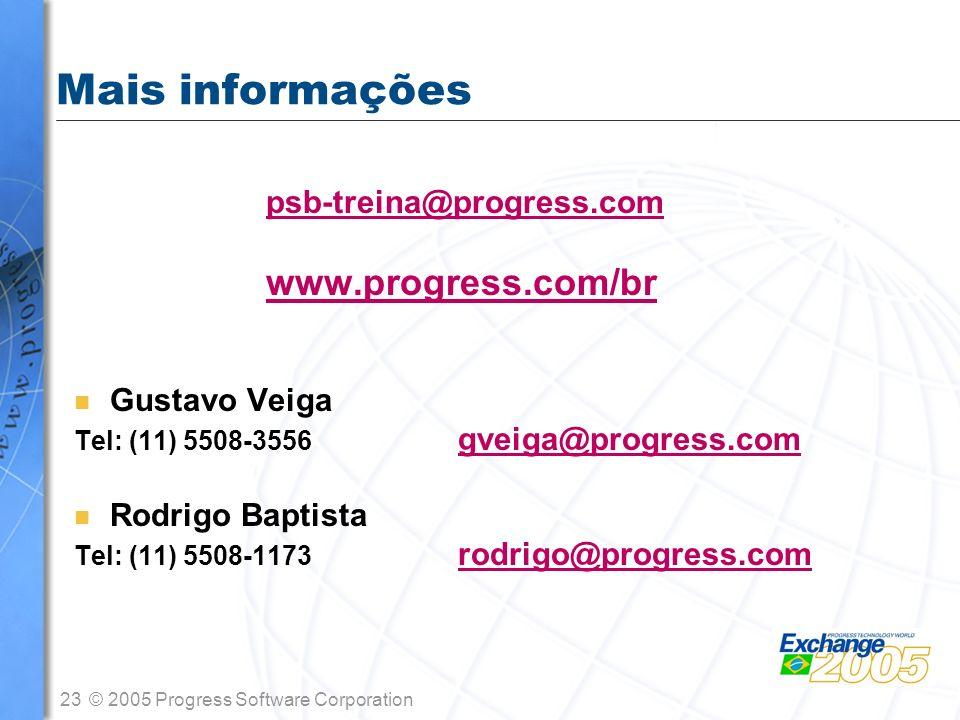 Mais informações www.progress.com/br psb-treina@progress.com