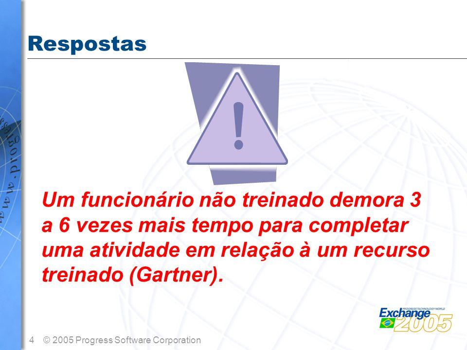 Respostas Um funcionário não treinado demora 3 a 6 vezes mais tempo para completar uma atividade em relação à um recurso treinado (Gartner).