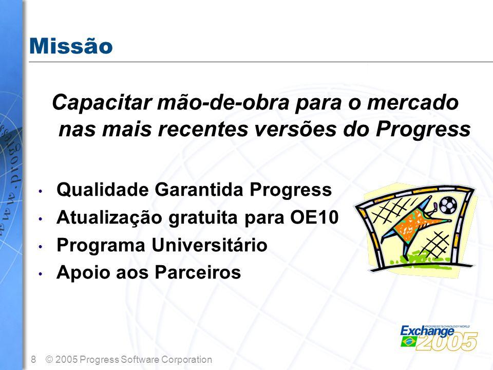 Missão Capacitar mão-de-obra para o mercado nas mais recentes versões do Progress. Qualidade Garantida Progress.