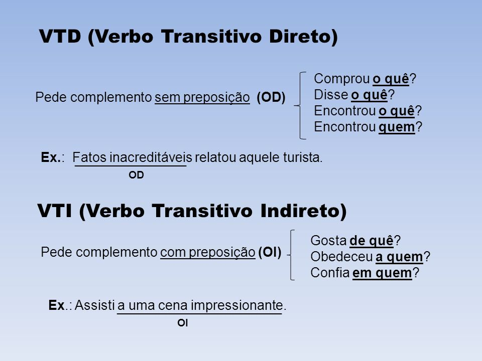 VTI (Verbo Transitivo Indireto)