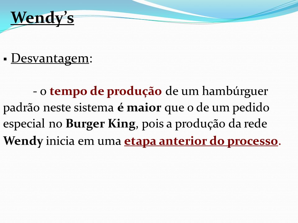 Wendy's Desvantagem: