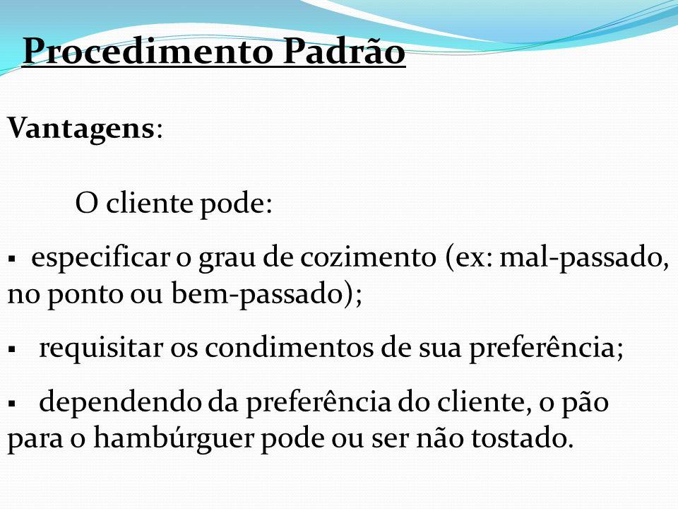 Procedimento Padrão Vantagens: O cliente pode:
