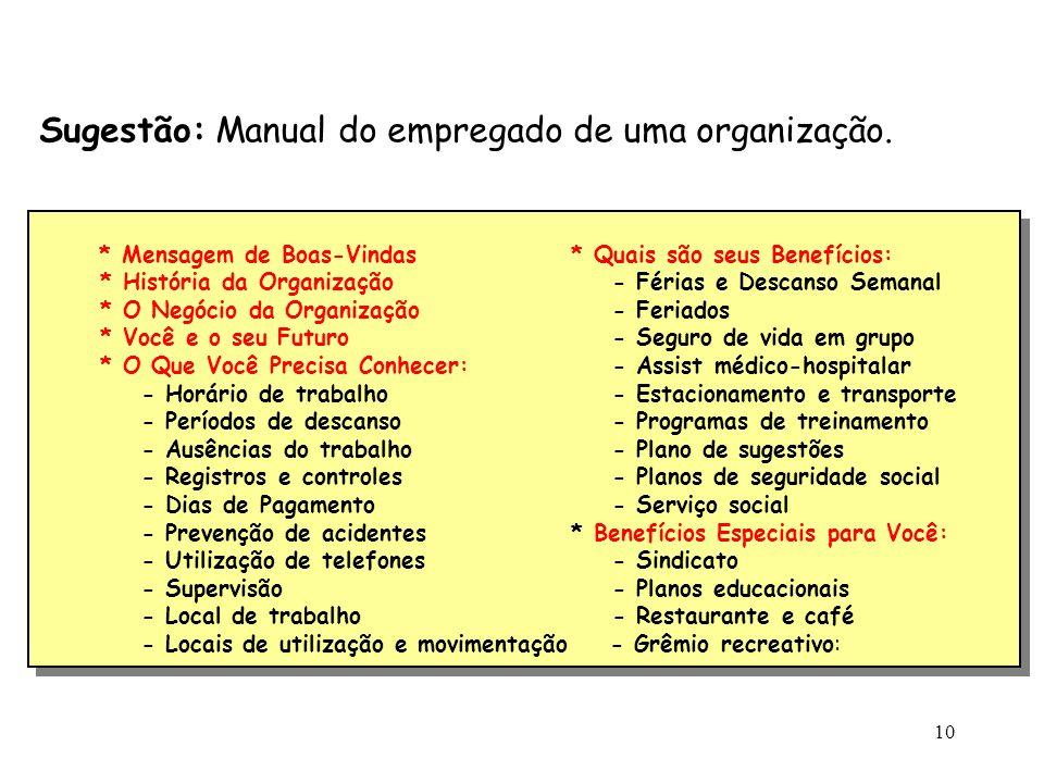 Sugestão: Manual do empregado de uma organização.