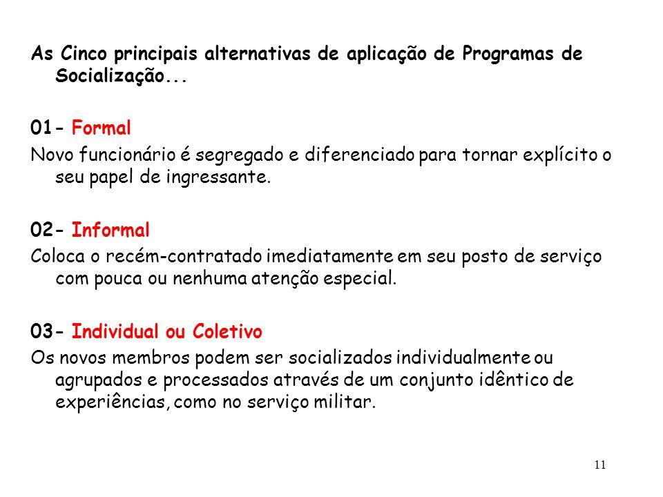 As Cinco principais alternativas de aplicação de Programas de Socialização...