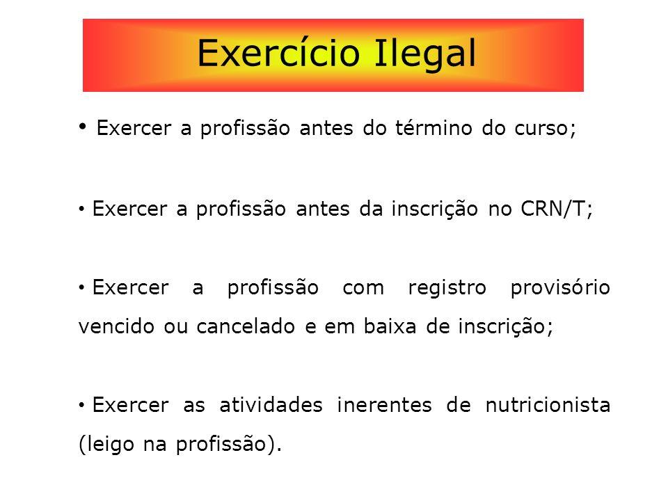 Exercício Ilegal Exercer a profissão antes do término do curso;