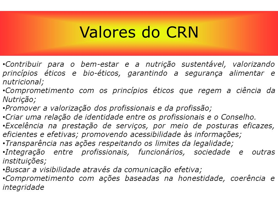 Valores do CRN