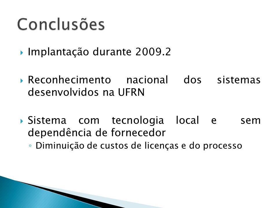 Conclusões Implantação durante 2009.2