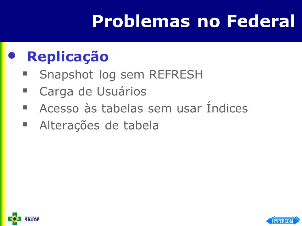 Problemas no Federal Replicação Snapshot log sem REFRESH