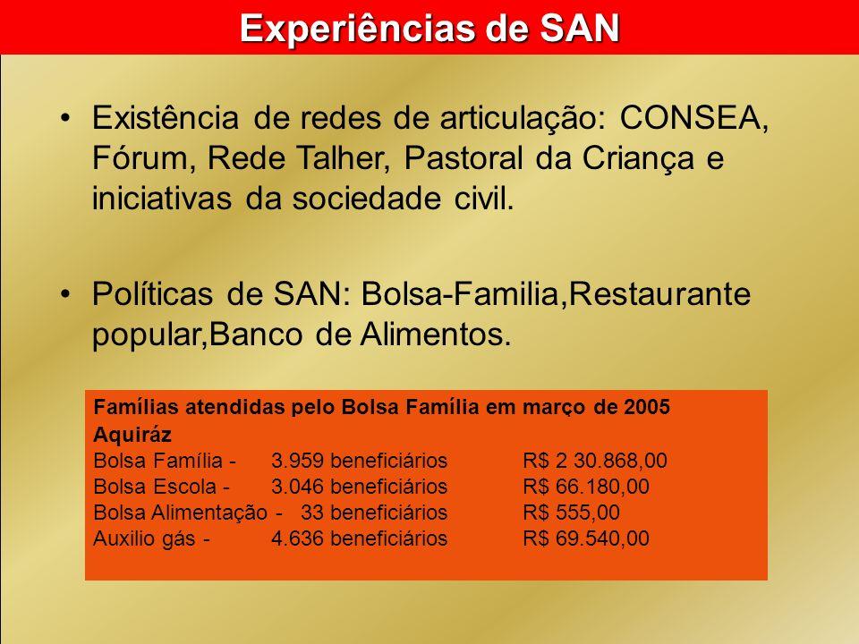 Experiências de SAN Existência de redes de articulação: CONSEA, Fórum, Rede Talher, Pastoral da Criança e iniciativas da sociedade civil.