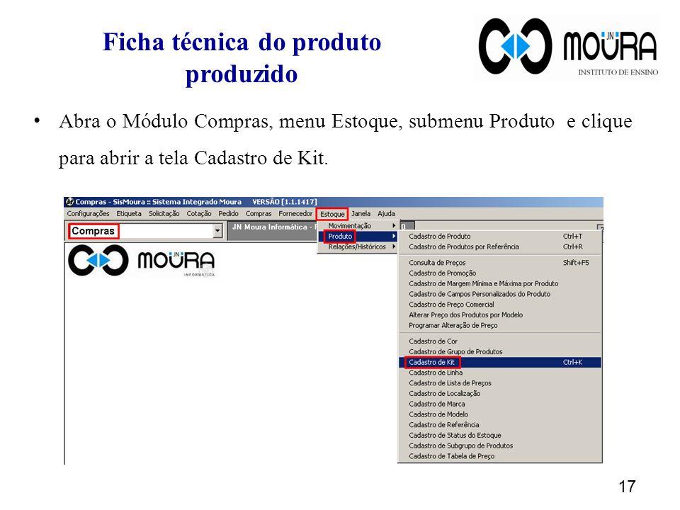 Ficha técnica do produto produzido