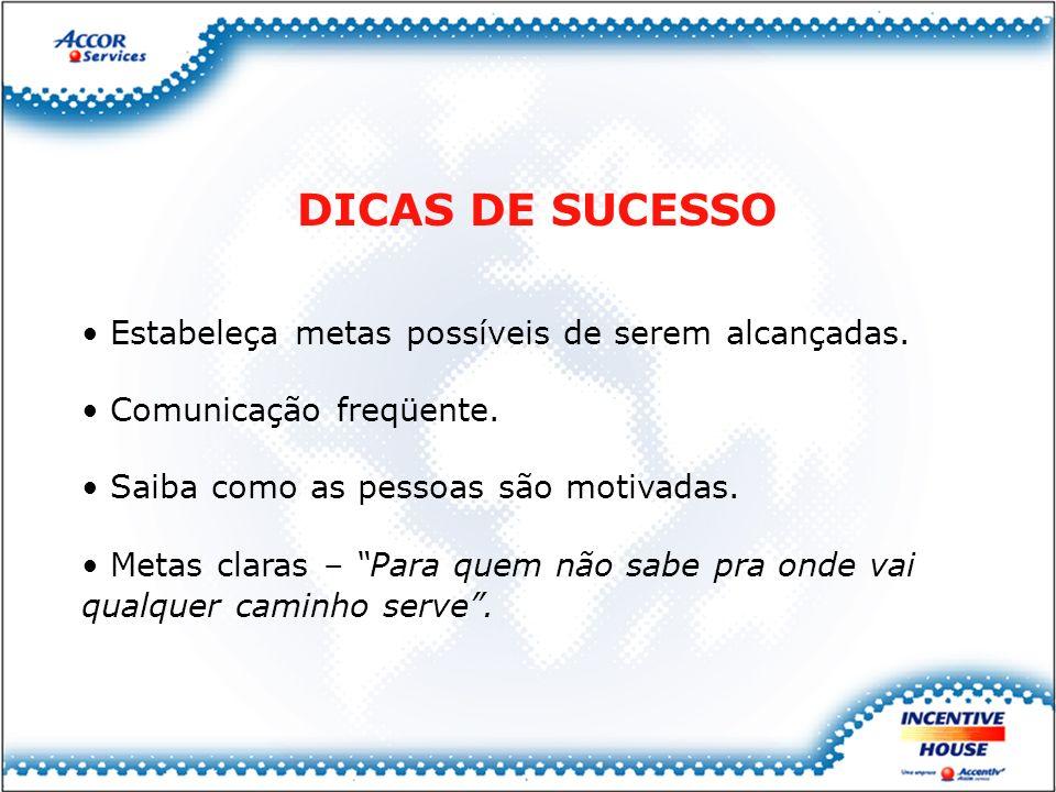 DICAS DE SUCESSO Estabeleça metas possíveis de serem alcançadas.