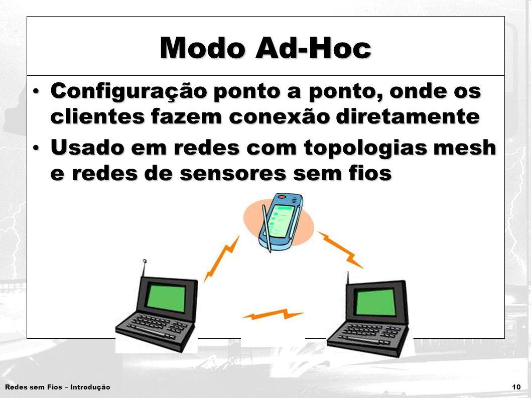 Modo Ad-Hoc Configuração ponto a ponto, onde os clientes fazem conexão diretamente.
