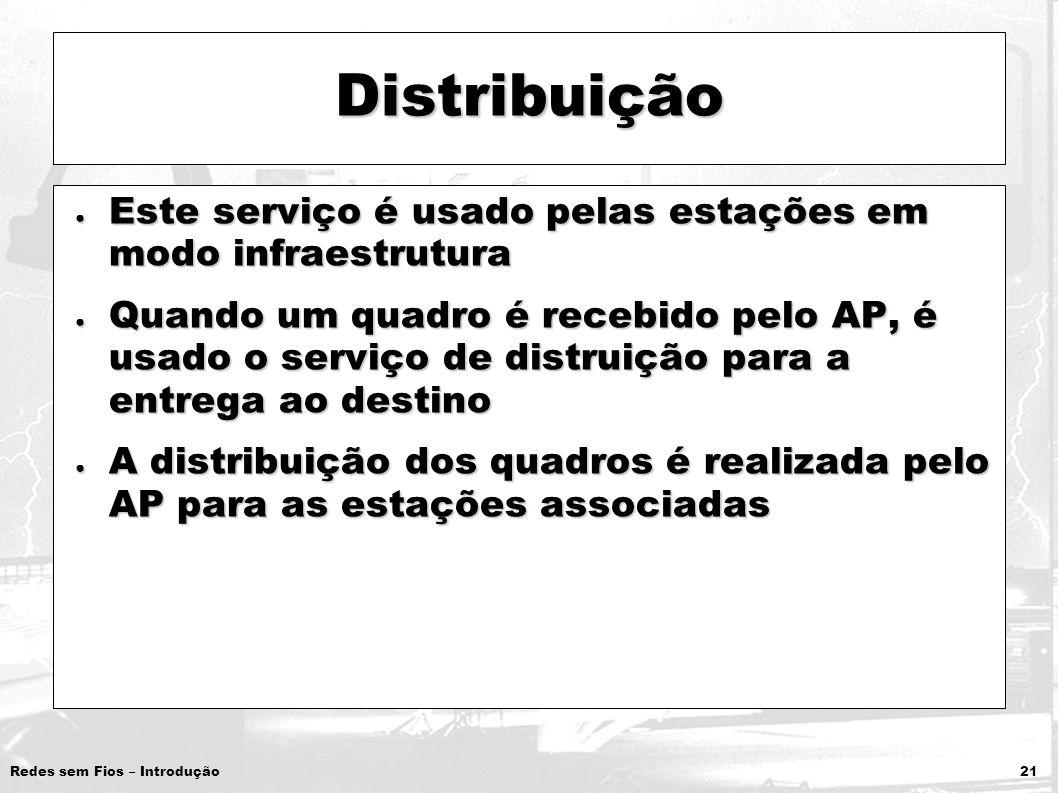 Distribuição Este serviço é usado pelas estações em modo infraestrutura.
