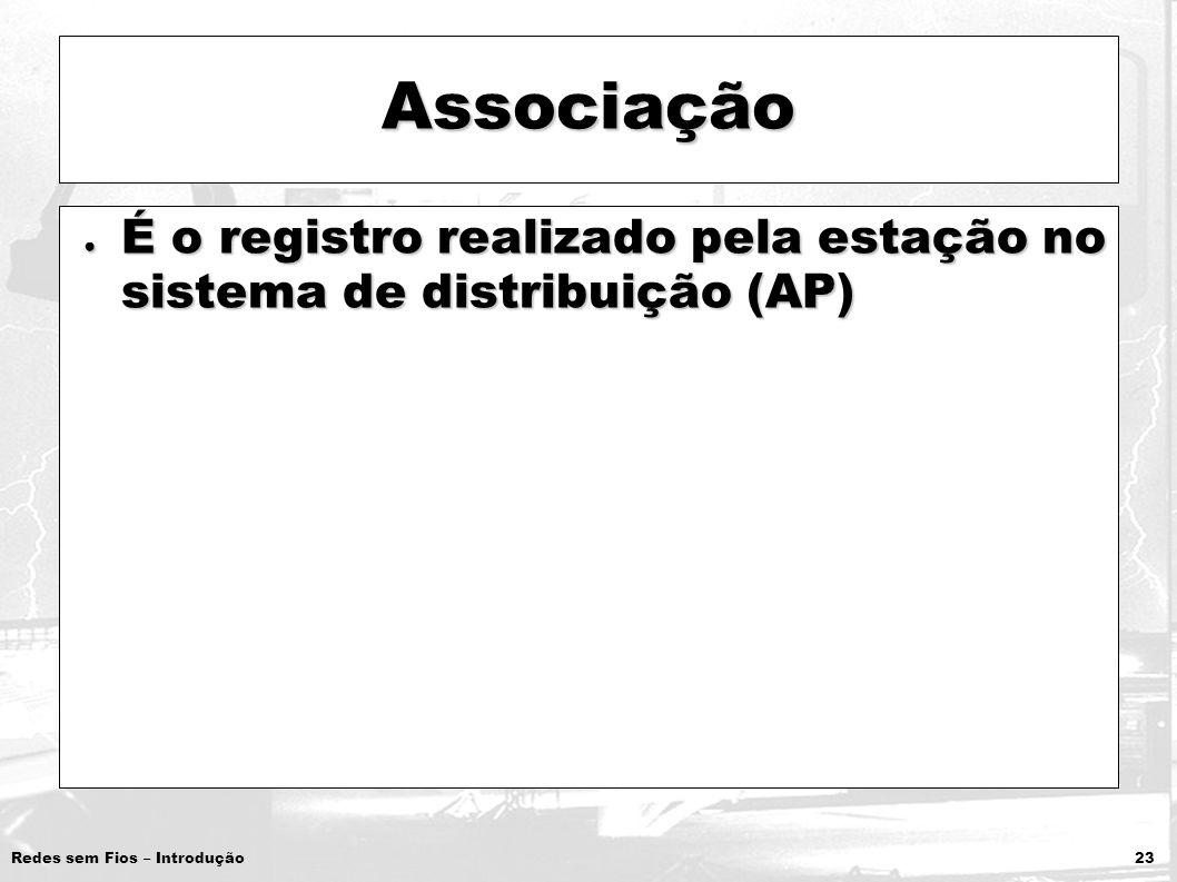 Associação É o registro realizado pela estação no sistema de distribuição (AP)