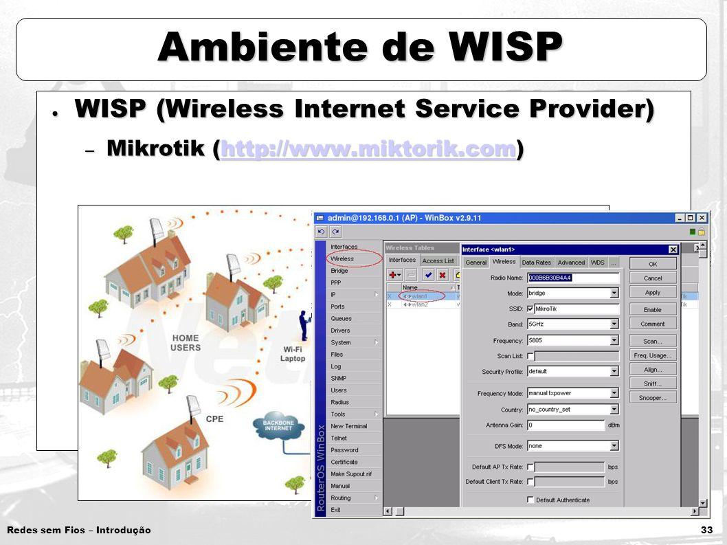 Ambiente de WISP WISP (Wireless Internet Service Provider)