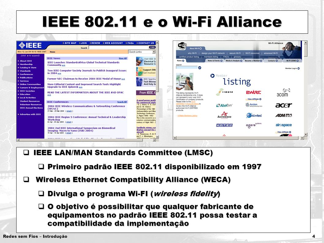 IEEE 802.11 e o Wi-Fi Alliance IEEE LAN/MAN Standards Committee (LMSC)