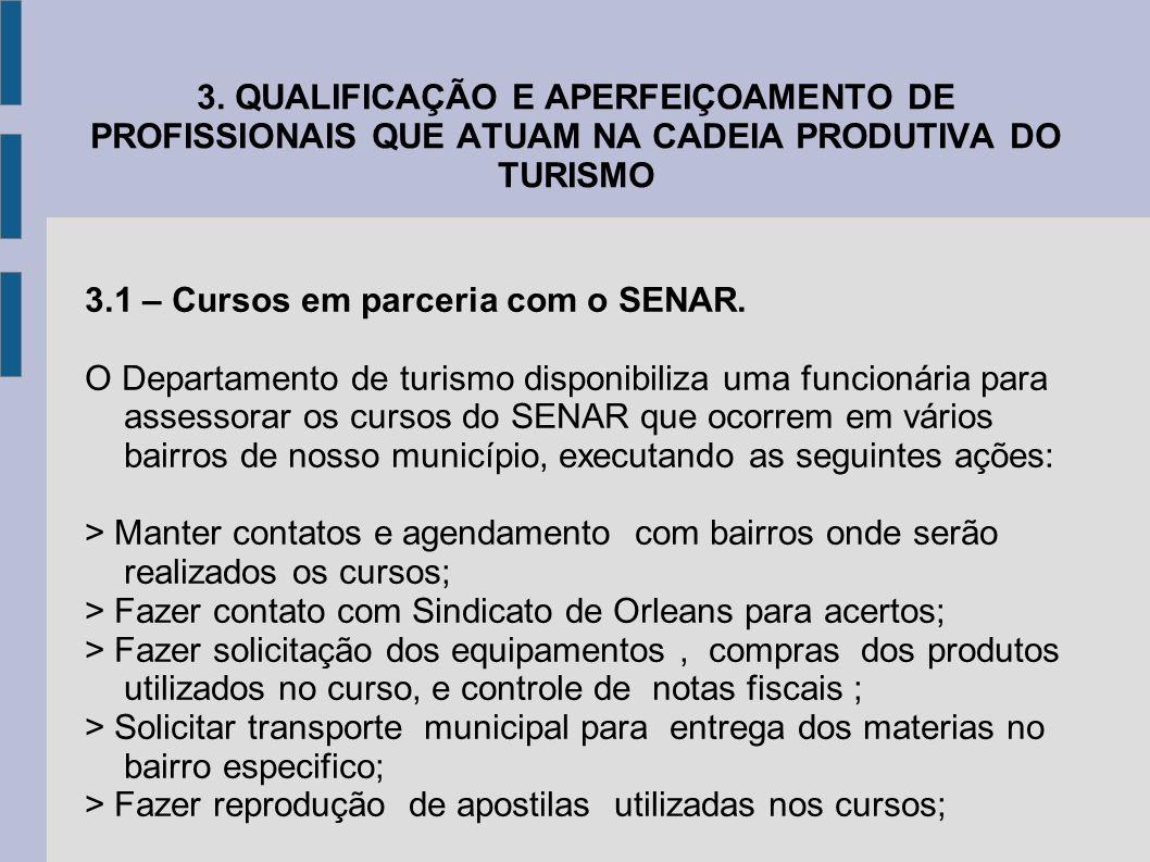 3. QUALIFICAÇÃO E APERFEIÇOAMENTO DE PROFISSIONAIS QUE ATUAM NA CADEIA PRODUTIVA DO TURISMO