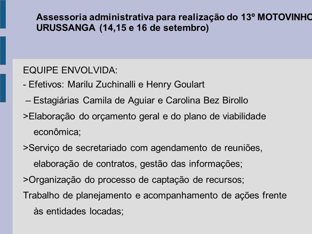 Assessoria administrativa para realização do 13º MOTOVINHO DE URUSSANGA (14,15 e 16 de setembro)