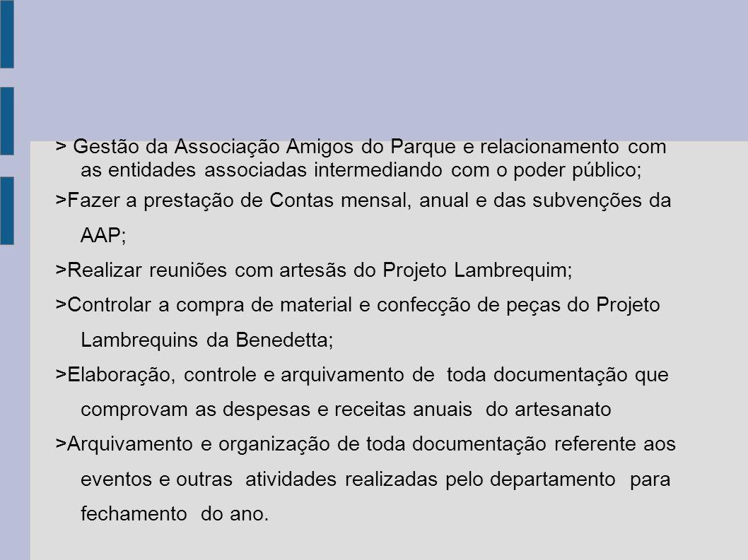 > Gestão da Associação Amigos do Parque e relacionamento com as entidades associadas intermediando com o poder público;