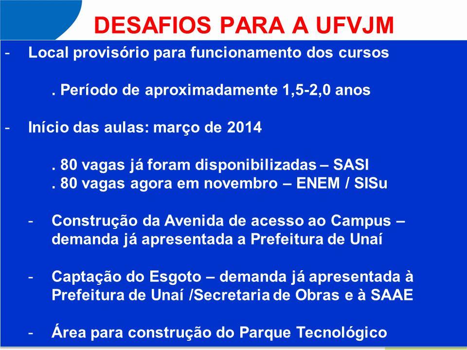 DESAFIOS PARA A UFVJM Local provisório para funcionamento dos cursos