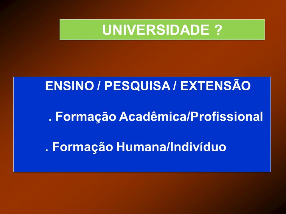 UNIVERSIDADE ENSINO / PESQUISA / EXTENSÃO