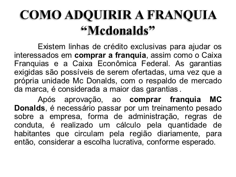 COMO ADQUIRIR A FRANQUIA Mcdonalds