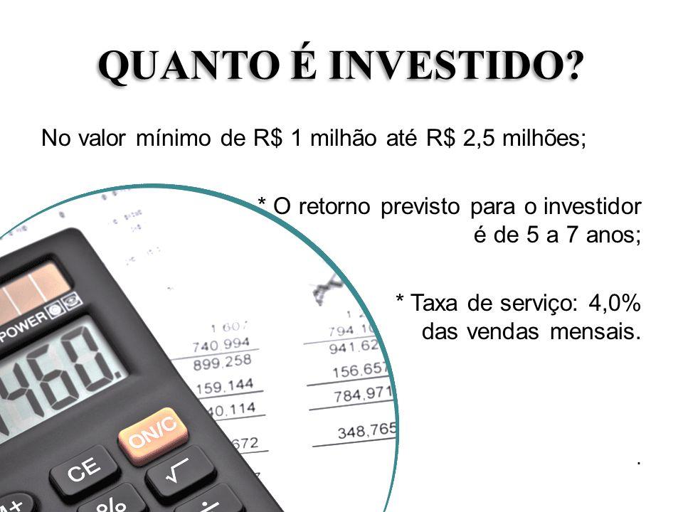 QUANTO É INVESTIDO No valor mínimo de R$ 1 milhão até R$ 2,5 milhões;
