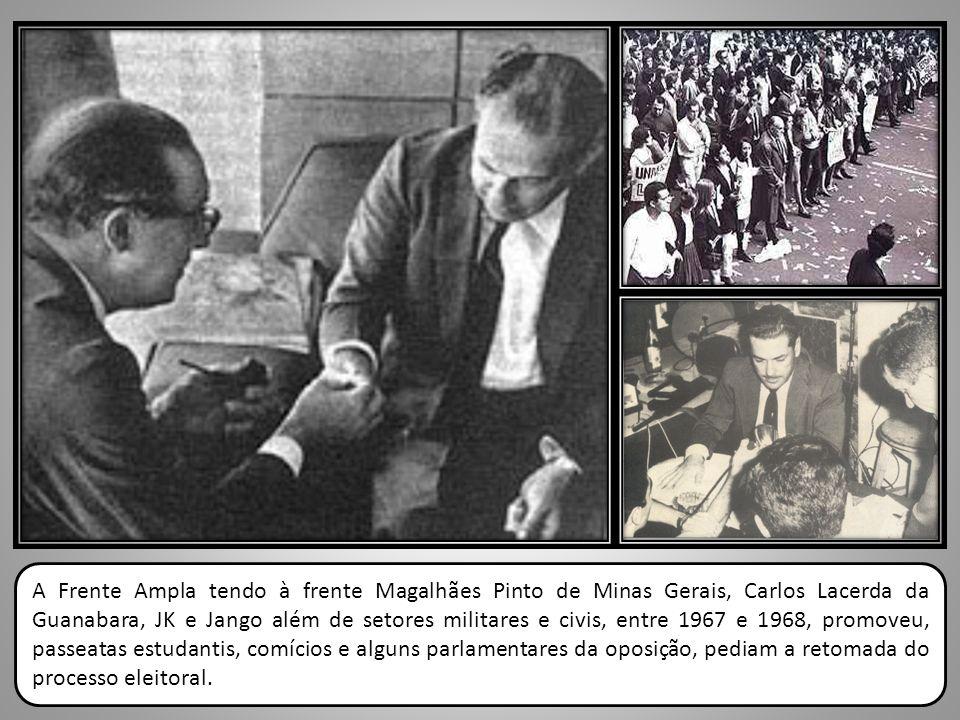 A Frente Ampla tendo à frente Magalhães Pinto de Minas Gerais, Carlos Lacerda da Guanabara, JK e Jango além de setores militares e civis, entre 1967 e 1968, promoveu, passeatas estudantis, comícios e alguns parlamentares da oposição, pediam a retomada do processo eleitoral.