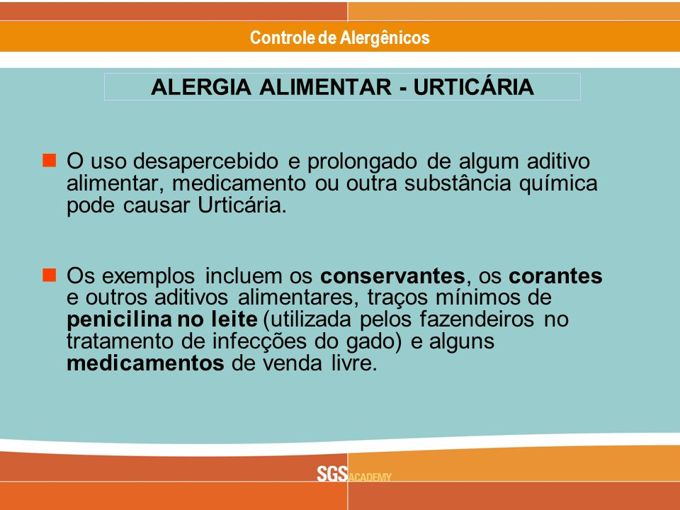 ALERGIA ALIMENTAR - URTICÁRIA